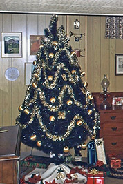 A photographic image of a Christmas tree with gold ornaments.