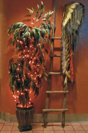 A photographic image of a plant decorated in mini lights.