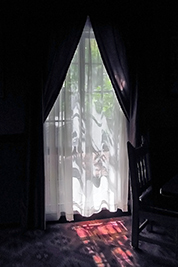 A photographic image of dark drapes with sheer curtains.