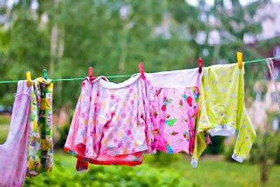 A photographic image of clothes on a clothesline.