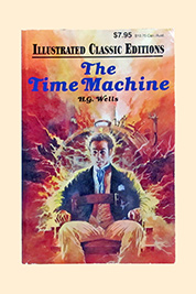 A photographic image of a book enititled, 'The Time Machine', by H.G. Wells.