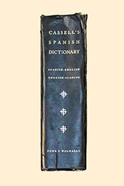 A photographic image of the spine of my Cassell's Spanish Dictionary.