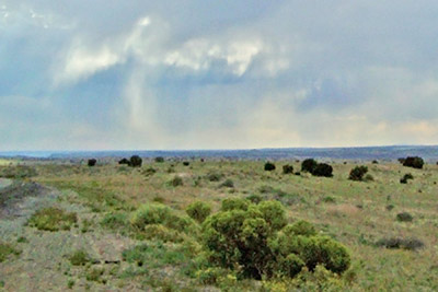 A photographic image of virga in central New Mexico.
