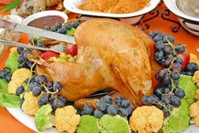 A photographic image of a Thanksgiving dinner.