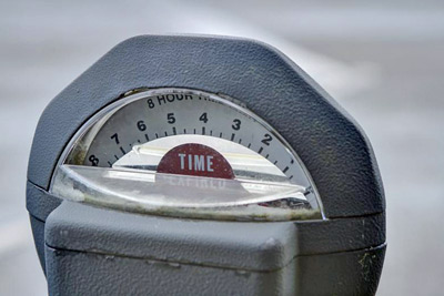 A photographic image of a parking meter.